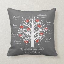 Grandma Tree (hearts) White on Gray, 8 Names/Dates Throw Pillow