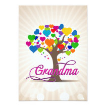 Grandma Tree of Life Hearts Invitation