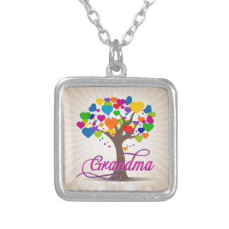 Grandma Tree of Life Hearts Silver Plated Necklace