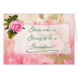 Grandma Vintage Rose Baby Announcement Card