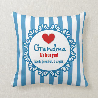 GRANDMA We Love You with Heart and Stripes V03 Pillow