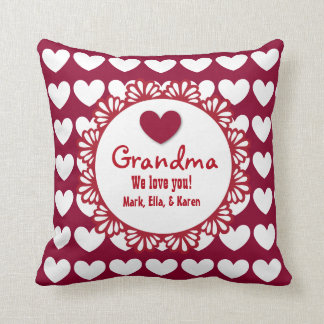 GRANDMA We Love You with Hearts and Lace C02 Throw Pillow