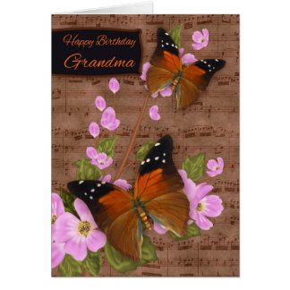 Grandma, with Flipper Butterfly On Pink Apple Blos Card