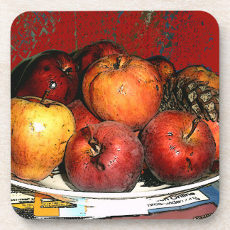 Grandmal's Bunches of Apples/Coasters-Red Design Coaster
