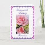 "Grandma&#39;s 100th Birthday Card<br><div class=""desc"">Picture of pink and blue flowers on white background. &quot;Happy 100th Birthday grandma&quot;  &quot;We are so blessed to have you in our lives! We love you!&quot; Personalize your message!   Photography by Maria Santos (Lusinhas do Sul)</div>"