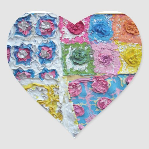 grandma's blankets art original paintning heart sticker