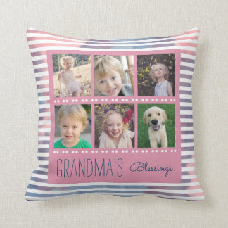 Grandma's Blessings Photo Collage Pink & Blue Throw Pillow
