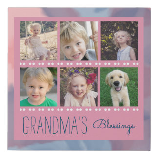 Grandma's Blessings | Photo Collage Pink Faux Canvas Print
