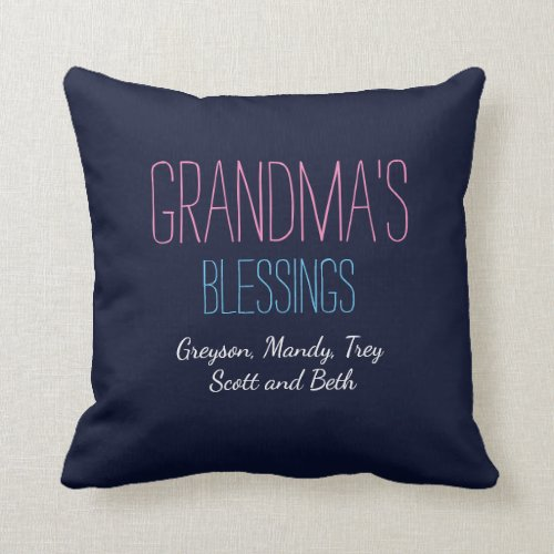 Grandmas blessings with grandkids names pillow