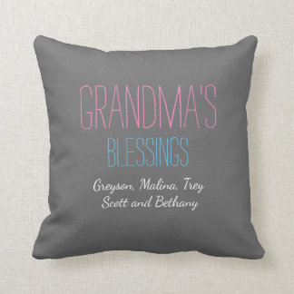 Grandma's blessings with grandkids names pillow