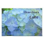 Grandma's Cafe place mats Blue Hydrangea Flowers