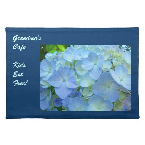 Grandma's Cafe placemats Kids Eat Free Hydrangeas