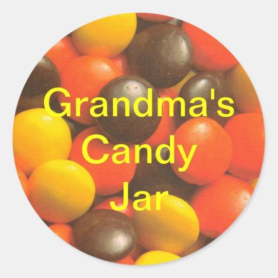 Grandma's Candy Jar full of treats and snacks Classic Round Sticker