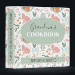 """Grandmas cookbook floral retro pattern recipes 3 ring binder<br><div class=""""desc"""">Elegant retro floral family cookbook featuring a pastel peach, dusty orange, sage green, and peach botanical foliage and wildflowers blooms illustration pattern. Easy to personalize with your name and text! It can be a pretty cookbook for your family or an inspired cute personalized gift for mother, grandmother, bride to be,...</div>"""