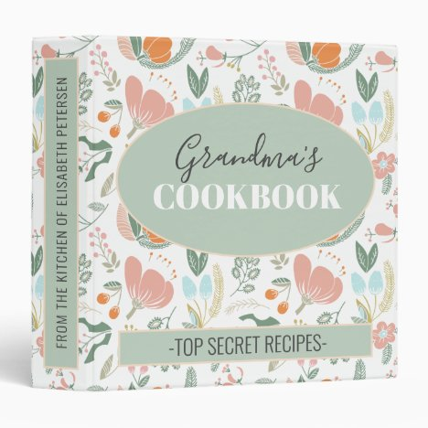 Grandmas cookbook floral retro pattern recipes 3 ring binder