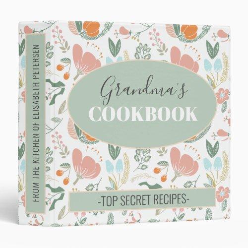 Grandmas cookbook floral retro pattern recipes 3 ring binder