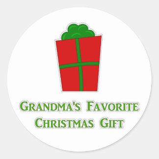 Grandma's Favorite Chirstmas Gift Classic Round Sticker