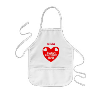 Grandma's Favorite Helper with Name RED Heart V1C Kids' Apron