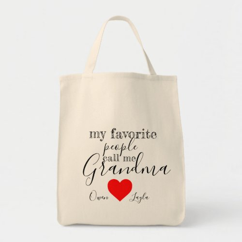 Grandmas favorite Tote personalized with names