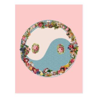 Grandma's Floral Yin Yang Postcard