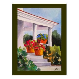 Grandma's Front Porch w/ Flower Pots Postcard