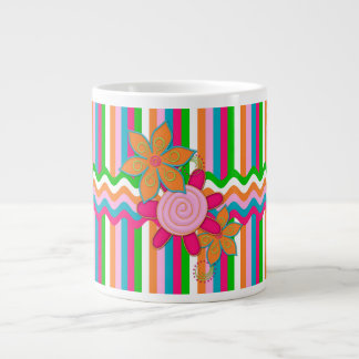 Grandmas Garden Stripes Jumbo Coffee Mug