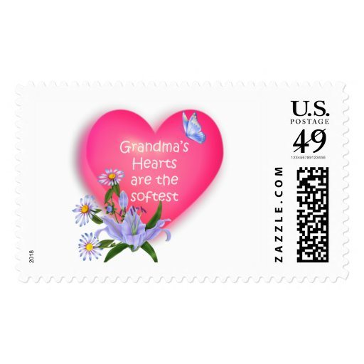 Grandma's Hearts are the Softest Postage Stamp