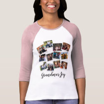 Grandma's Joy Photo Frame Collage Modern Trendy T-Shirt