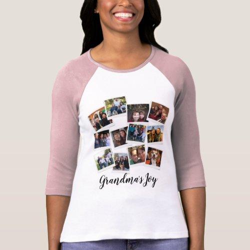 Grandmas Joy Photo Frame Collage Modern Trendy T_Shirt