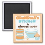 Grandma's Kitchen Always Open T-shirts and Gifts 2 Inch Square Magnet
