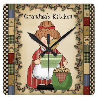 Grandma's Kitchen Cartoon Wall Clock