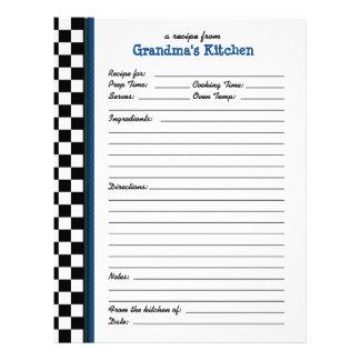 Grandmas Kitchen Checkered Blue Accent Recipe Personalized Letterhead