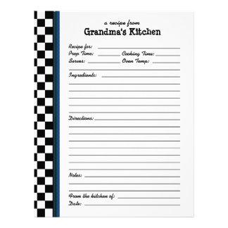 Grandmas Kitchen Checkered Blue Accent Recipe Letterhead