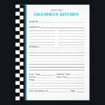 "Grandma&#39;s Kitchen Checkered Recipe Stencil Letterhead<br><div class=""desc"">Turquoise accent line along the checkerboard border of this customizable recipe page match the title. You can change &quot;a recipe from&quot; and &quot;Grandma&#39;s Kitchen&quot; to say &quot;inspired by&quot; and &quot;Nana Green&quot; or &quot;from the collection of&quot; and &quot;The Neighborhood Bakers&quot; or whatever you like. Great gift for new brides and bridal...</div>"
