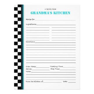 Grandma's Kitchen Checkered Recipe Stencil Letterhead