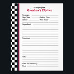 "Grandmas Kitchen Checkered Red Accent Recipe Page<br><div class=""desc"">Custom recipe pages can be used in matching recipe binders. Anyone can easily write in their favorite recipe! Creating a family recipe book is not only fun for family reunions - you can expand every year or whenever you get new recipes this way - it&#39;s also a wonderful gift for...</div>"
