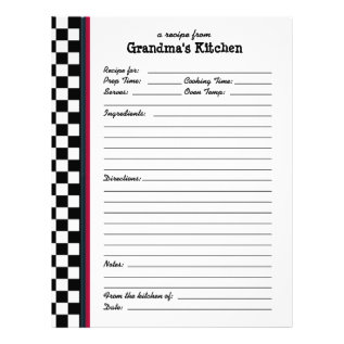 Grandmas Kitchen Checkered Red Accent Recipe Page at Zazzle