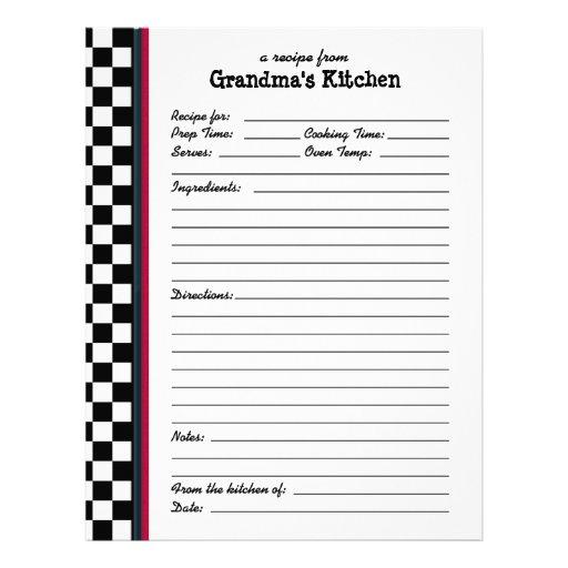Grandmas Kitchen Checkered Red Accent Recipe Page Customized Letterhead