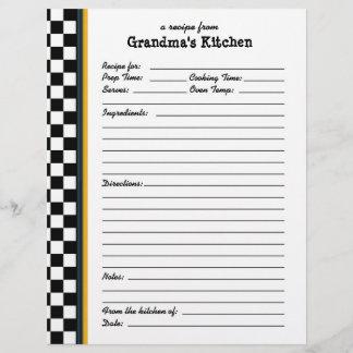 Grandmas Kitchen Checkered Yellow Accent Recipe