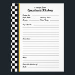"Grandmas Kitchen Checkered Yellow Accent Recipe Letterhead<br><div class=""desc"">Custom recipe pages can be used in matching recipe binders. Anyone can easily write in their favorite recipe! Creating a family recipe book is not only fun for family reunions - you can expand every year or whenever you get new recipes this way - it&#39;s also a wonderful gift for...</div>"