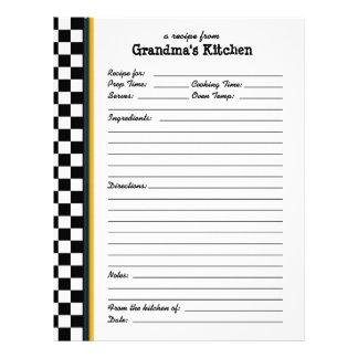 Grandmas Kitchen Checkered Yellow Accent Recipe Letterhead