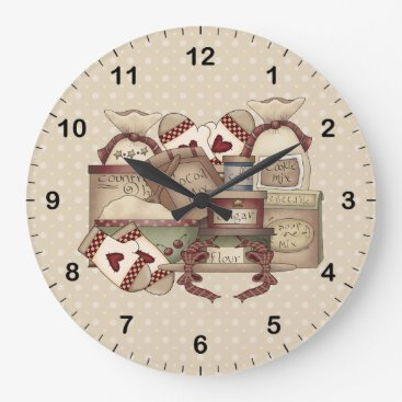 Coffee Themed Grandmas Kitchen Large Clock