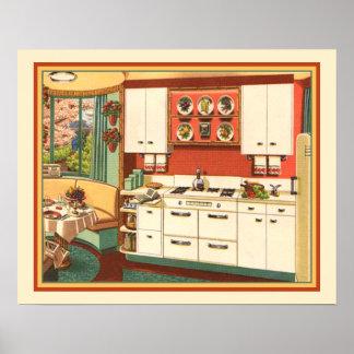 Grandmas Kitchen Midcentury Modern Retro Kitsch Poster