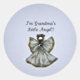 Grandma's little angel round sticker