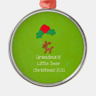 Grandma's Little Deer Christmas 2011 Metal Ornament