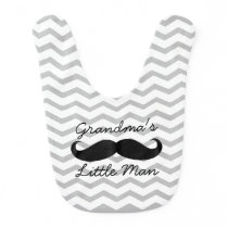 Grandma's Little Man Mustache Cute Boys Bib
