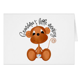 Grandma's Little Monkey - Boy Tshirts and Gifts Greeting Cards