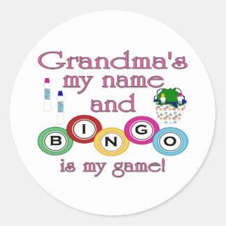 Grandmas my name Bingo is my game Round Stickers