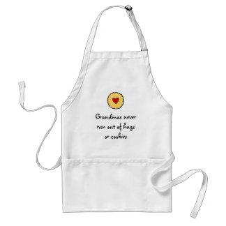 Grandmas never run out of hugs or cookies adult apron