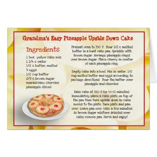 Grandma's Pineapple Upside Down Cake Recipe Card